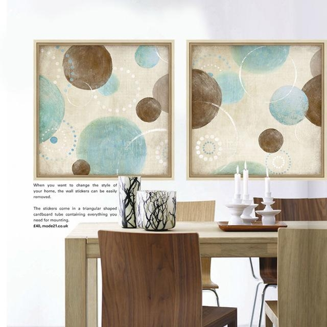 Light Blue, Beige And Brown Circles Modern Abstract Painting Inside Blue And Brown Abstract Wall Art (Image 13 of 20)