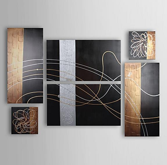 Listed In Stock] 6Pcs/lot Hand Made Silver Line Black & Brown Within Brown Abstract Wall Art (Photo 4 of 20)