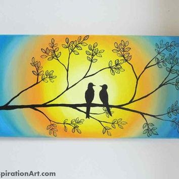 Love Birds In Tree Abstract Acrylic From Paintspiration | Art In Abstract Bird Wall Art (View 3 of 20)
