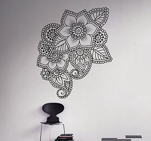 Mehndi Henna Wall Decal Abstract Flowers Vinyl Sticker Henna Regarding Abstract Art Wall Decal (Image 8 of 15)