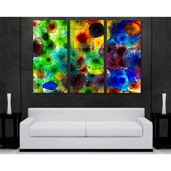 Metal Abstract Wall Art Decor – Chihuly Glass 5 Panel | Pomysły Do For Glass Abstract Wall Art (View 4 of 15)