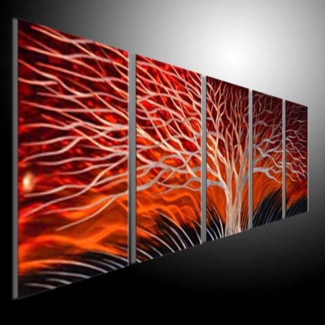 Metal Sculpture Wall Red Tree, Metal Painting Original Abstract Regarding Aluminum Abstract Wall Art (Image 16 of 20)