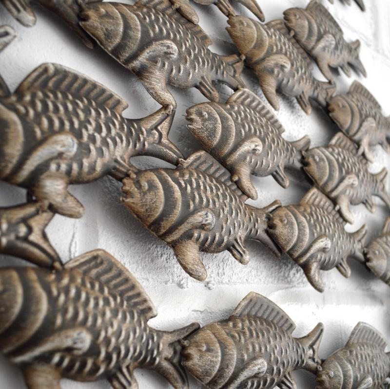 Metal Wall Art – Shoal Of Fish – Coastalhome.co (Image 11 of 15)