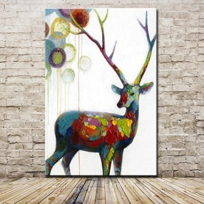 Mintura Hand Painted Modern Abstract Deer Animal Oil Painting With Abstract Deer Wall Art (Image 13 of 15)