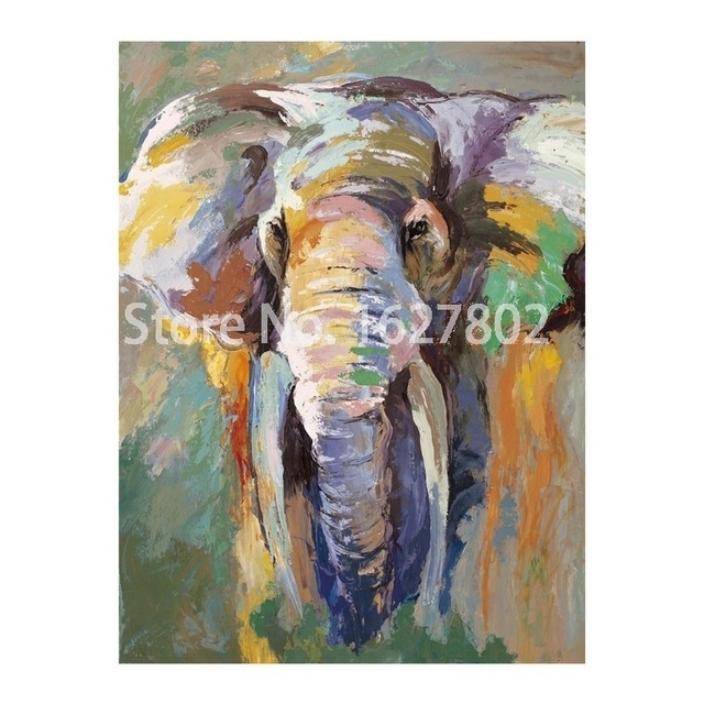 Modern Abstract Elephant Wall Painting Hand Painted Animals Art Throughout Abstract Elephant Wall Art (Image 13 of 15)
