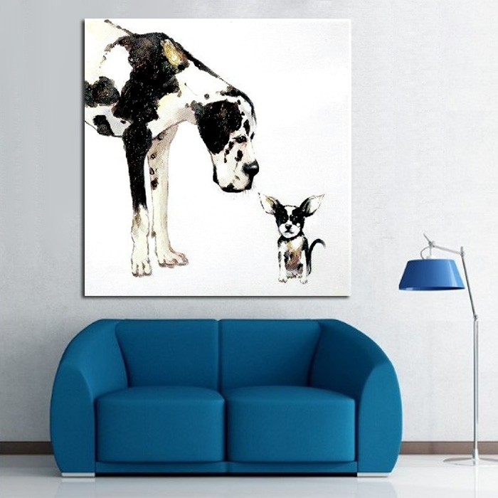 Modern Abstract Painting Dog Animal Decorative Paintings Pure Hand With Regard To Abstract Dog Wall Art (Image 9 of 15)