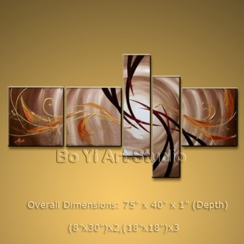 Modern Abstract Painting Wall Art Set Oil On Canvas Framed Large In Large Framed Abstract Wall Art (View 3 of 15)