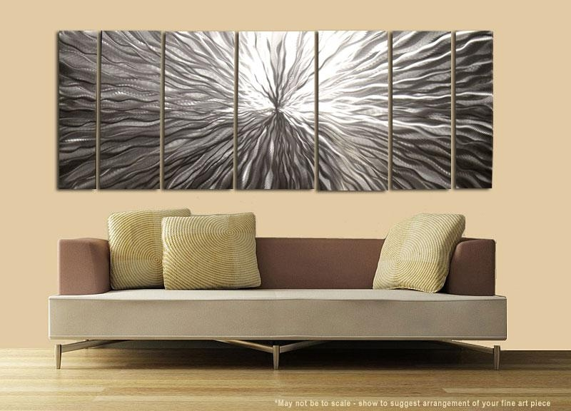 "Modern Abstract Silver Metal Wall Art Sculpture Decor ""vortex"" With Contemporary Abstract Wall Art (Image 14 of 20)"