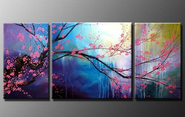 Featured Image of Cherry Blossom Oil Painting Modern Abstract Wall Art