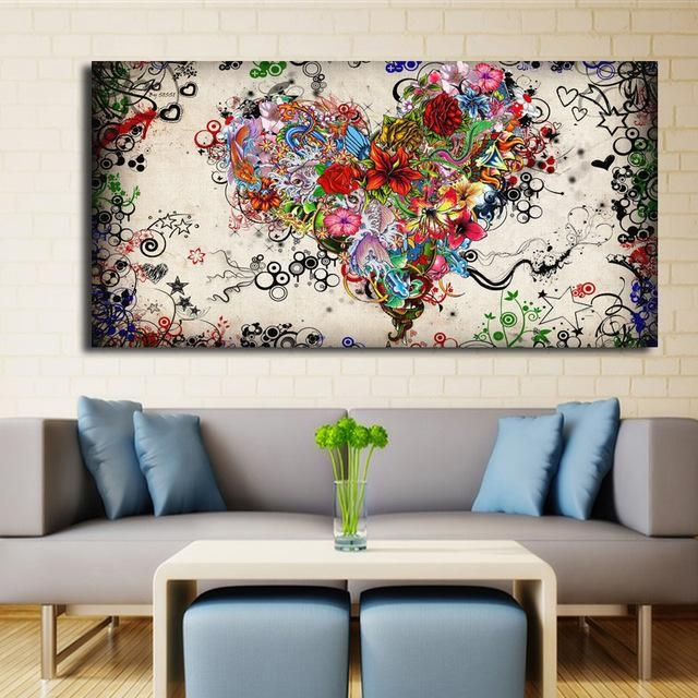 Modern Big Canvas Wall Art Canvas Painting Watercolor Heart Within Abstract Wall Art Canvas (Image 16 of 20)
