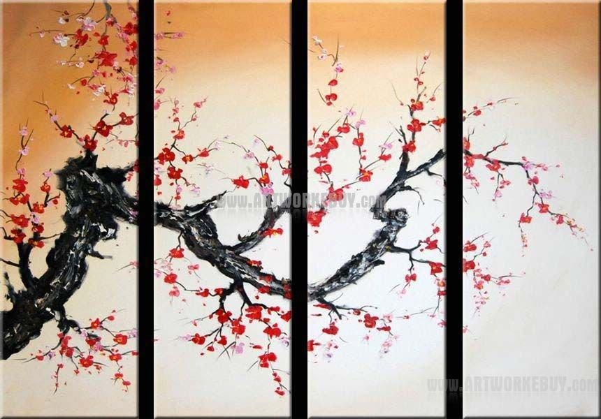 Modern Oil Painting Cherry Blossom Abstract Art Canvas Framed Regarding Cherry Blossom Oil Painting Modern Abstract Wall Art (Image 18 of 20)