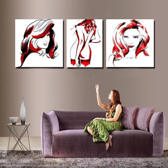 Modern Red And Black Women Body Canvas Painting Sketch Design With Abstract Body Wall Art (View 9 of 20)