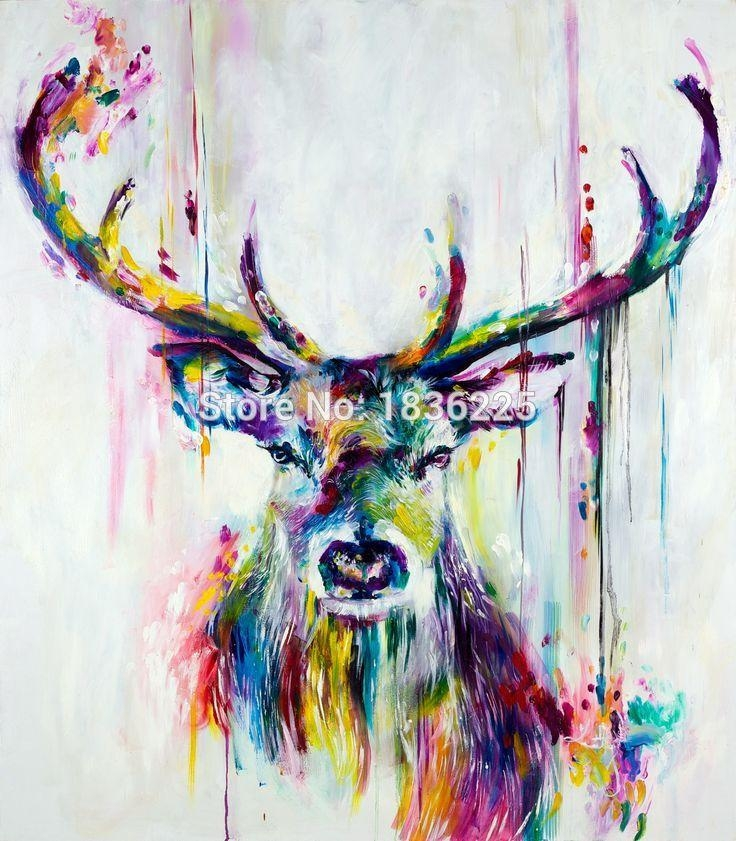 Modern Style Abstract Oil Painting Canvas Animals Painted Deer Oil In Abstract Animal Wall Art (View 17 of 20)