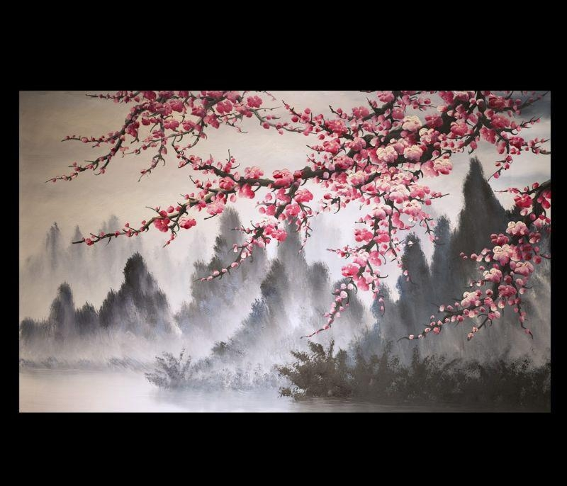 Modern Wall Art Paintings Art Prints On Canvas Japanese Cherry Intended For Abstract Cherry Blossom Wall Art (Image 17 of 20)