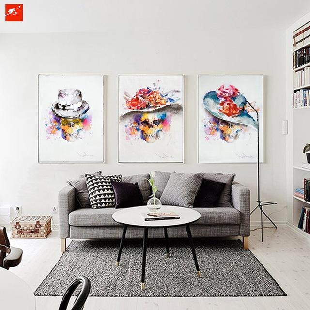 Modern Watercolour Fashion Skull Painting Set Abstract Wall Art Within Abstract Wall Art For Bedroom (Image 14 of 20)