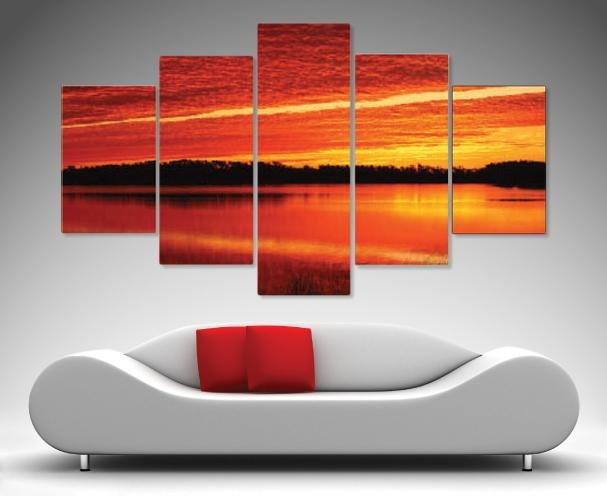 Morning Flames 5 Panel Wall Art – Canvas Prints Australia Throughout Brisbane Abstract Wall Art (View 16 of 20)