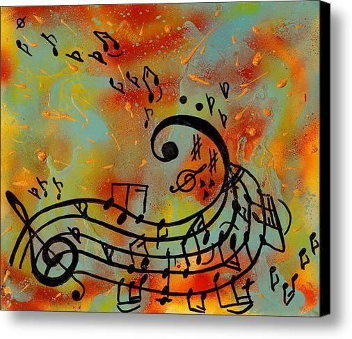 Music Notes Painting, Abstract Music Art Print, Musical Notes Wall With Regard To Abstract Musical Notes Piano Jazz Wall Artwork (Image 11 of 20)