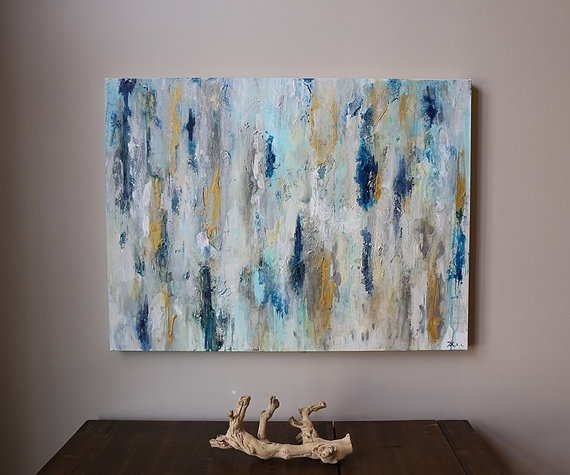Navy, Dark Blue, Gold Abstract Painting, Original Abstract With Dark Blue Abstract Wall Art (View 3 of 15)