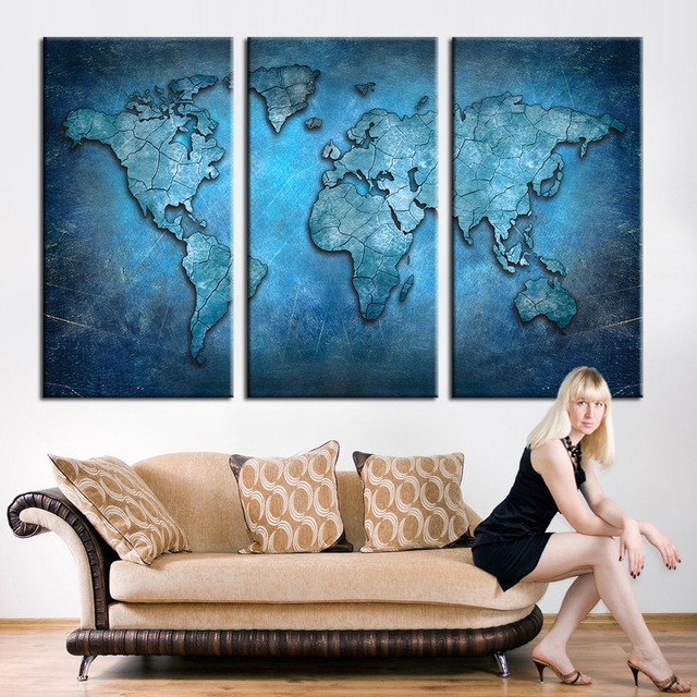 New Arrival Modular Large Triptych Wall Art Canvas World Map With Regard To Dark Blue Abstract Wall Art (View 7 of 15)