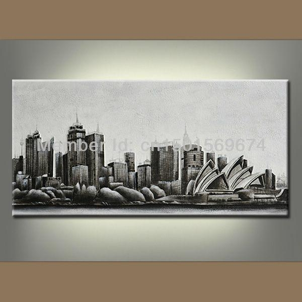 Night New York City Landscape Oil Painting Hand Painted Modern Regarding Abstract Wall Art Australia (View 10 of 20)