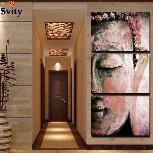 No Frame 3Pcs Abstract Buddha Wall Art Paintings Home Decor For With Abstract Buddha Wall Art (Image 15 of 20)