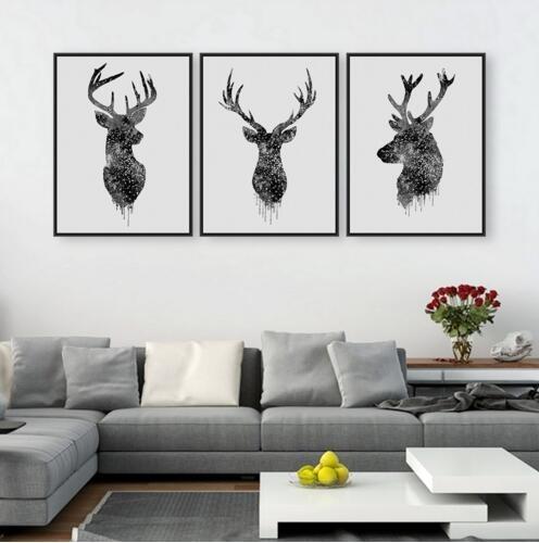 No Frame Rectangle Watercolor Modern Print Deer Head Paintings In Abstract Deer Wall Art (View 11 of 15)