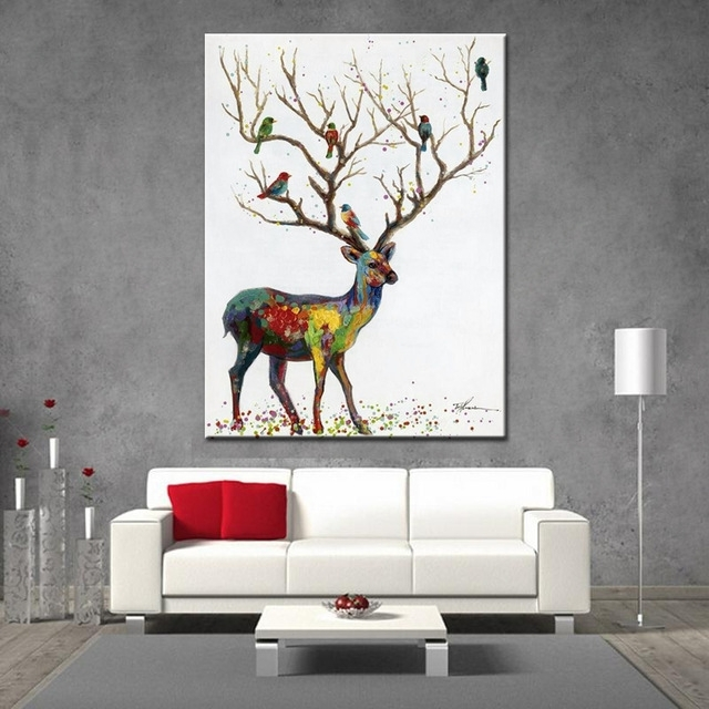 Noah Hand Painted Wall Art Decoration Picture Modern Abstract Intended For Abstract Deer Wall Art (Image 15 of 15)