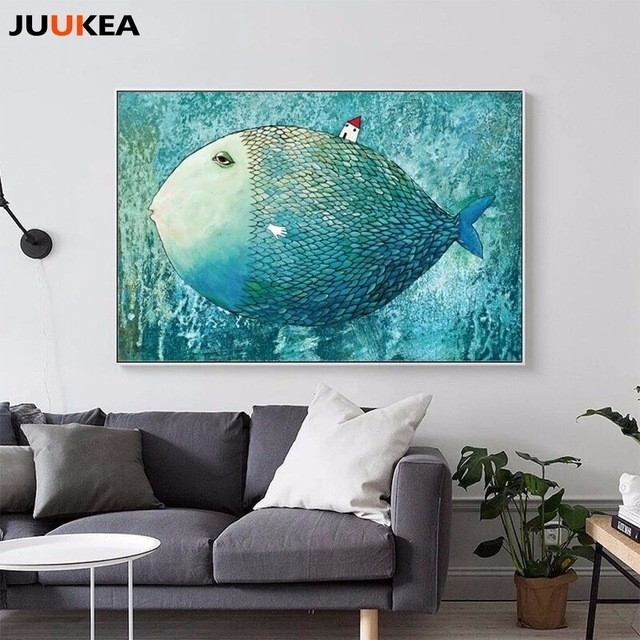 Nordic Canvas Painting Abstract Fish Wall Art Painting Canvas Pertaining To Abstract Fish Wall Art (View 9 of 15)