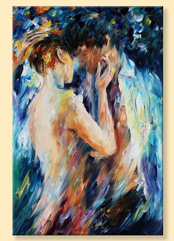 Nude Wall Art – Kiss Of Passion — Limited Edition Naked Woman Pertaining To Limited Edition Canvas Wall Art (View 6 of 20)