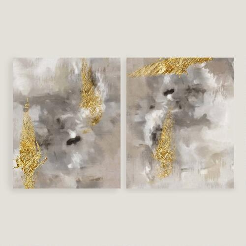 Of Gold I And Ii Gray And Gold Wall Art Regarding Black And Gold Abstract Wall Art (Image 16 of 20)