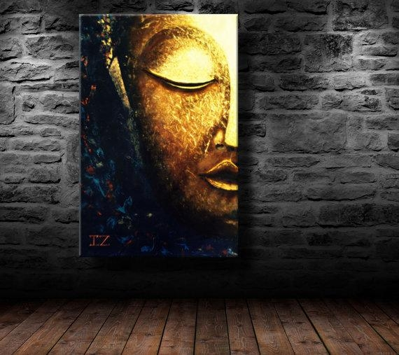 Oil Painting Modern Art Glowing Buddha Canvas Inside Abstract Buddha Wall Art (View 12 of 20)