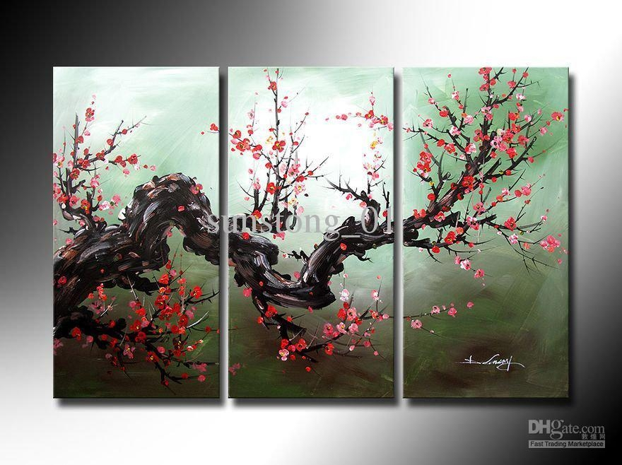 Oil Painting Modern Flower On Canvas With Frame Top Quality For Cherry Blossom Oil Painting Modern Abstract Wall Art (Image 19 of 20)