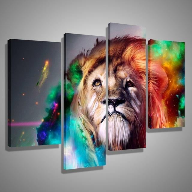 Oil Paintings Canvas Cheap Abstract Lion Colorful Animals Wall Art Regarding Abstract Animal Wall Art (View 10 of 20)