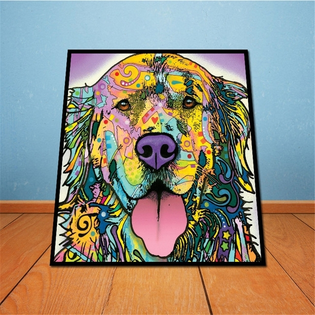 On Canvas Golden Retriever Unframed Room Decor Modern Huge Wall Within Abstract Dog Wall Art (View 14 of 15)