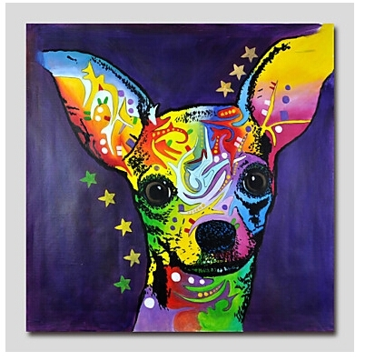 One Piece Hand Painted Modern Canvas Oil Painting Wall Decor Pop Throughout Abstract Dog Wall Art (Image 13 of 15)