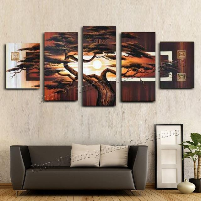 Online Shop Hand Painted Wall Art Tree Sunshine Red Sun Mountain Inside Abstract African Wall Art (View 8 of 20)