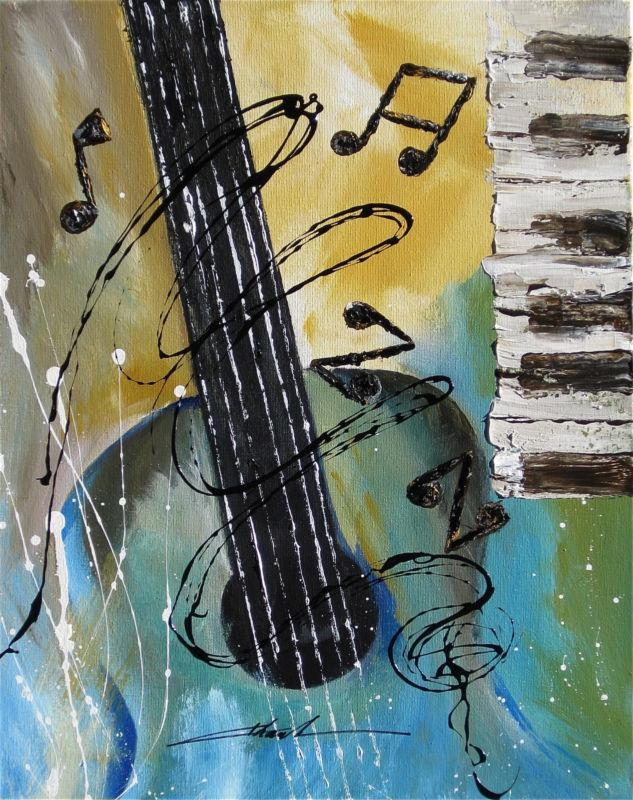 Orginal Art Absrtact Painting Jazz Guitar Piano Music Notes By For Abstract Musical Notes Piano Jazz Wall Artwork (View 3 of 20)