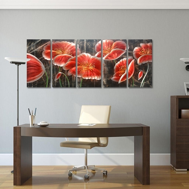 Original Abstract Flower Oil Painting Handcraft Aluminum Metal Throughout Abstract Flower Metal Wall Art (Image 8 of 15)