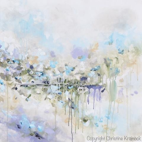 Original Art Abstract Painting Blue White Grey Lavender Coastal Intended For Abstract Floral Wall Art (Image 13 of 15)