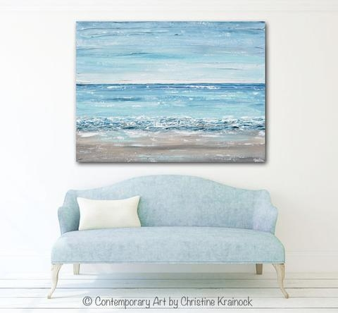 Original Art Abstract Painting Textured Seascape Beach Ocean Blue With Regard To Abstract Beach Wall Art (View 15 of 20)