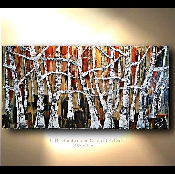 Original Oil Painting 24X48 Red Brown Black White Gold Metallic Inside Black And Gold Abstract Wall Art (View 6 of 20)