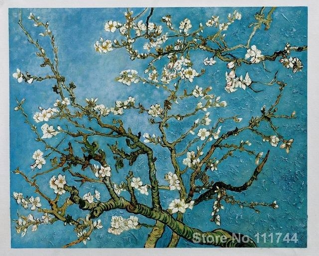 Paintingsvincent Van Gogh Almond Blossom Hand Painted Art On Pertaining To Almond Blossoms Vincent Van Gogh Wall Art (View 10 of 20)