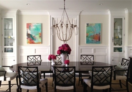Pair Of Abstract Paintings – Transitional – Dining Room – Los Regarding Abstract Wall Art For Dining Room (Image 9 of 15)