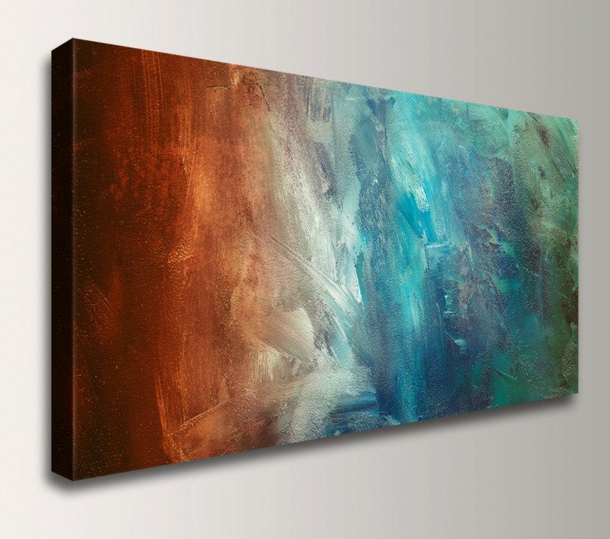 Panoramic Art – Abstract Painting Reproduction – Canvas Print Throughout Blue And Brown Abstract Wall Art (View 9 of 20)