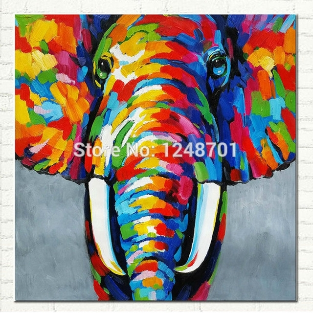 Pop Art Hand Painted Elephant Oil Painting On Canvas African With Abstract Elephant Wall Art (View 3 of 15)