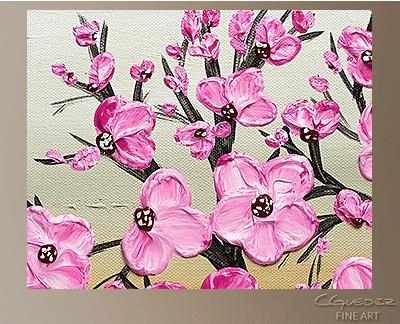 Poppy Flower Painting Cherry Blossom  Flower And Tree Paintings Regarding Abstract Cherry Blossom Wall Art (Image 19 of 20)
