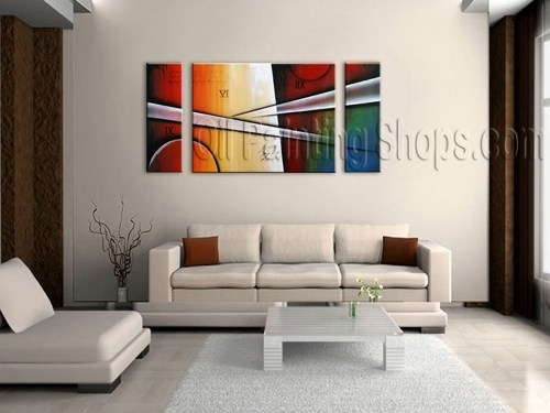 Primitive Tri Panel Wall Art For Living Room Modern Art Abstract Regarding Abstract Wall Art For Living Room (Image 14 of 15)
