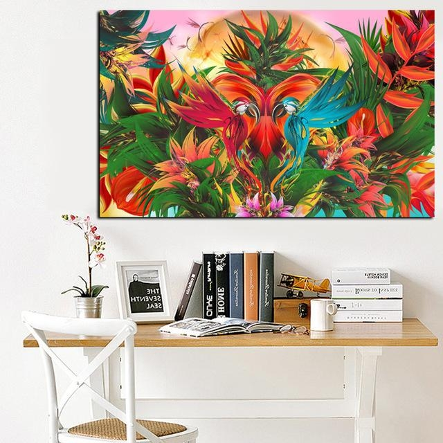 Print Tropical Jungle Flowering Bird Of Paradise Abstract Oil Inside Abstract Bird Wall Art (View 11 of 20)