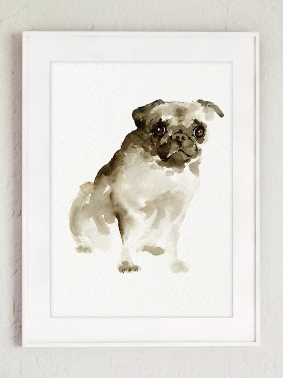 Pug Dog Wall Art Watercolor Painting Brown Dog Portrait Pet In Abstract Dog Wall Art (Image 14 of 15)