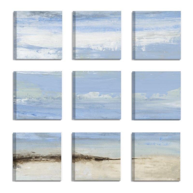 Rosecliff Heights 'abstract Beach Seascape' 9 Piece Canvas Wall With Regard To Abstract Beach Wall Art (View 19 of 20)